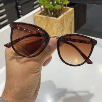 عینک آفتابی UV 400 فریم قهوه ای مدل بیضی