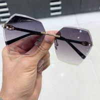 عینک آفتابی بلوکات بدون فریم مشکی مدل شش ضلعی