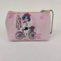 کیف لوازم آرایش طرح دختر و دوچرخه