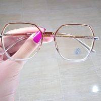 عینک بلوکات شش ضلعی فریم سفید و قهوه ای روشن