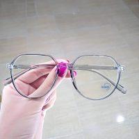 عینک بلوکات بیضی فریم خاکستری شیشه ای